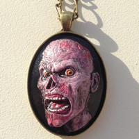 Pink and Black Polymer Clay Zombie Cameo Pendant Necklace