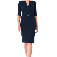Split neck cotton knit sheath belted dress