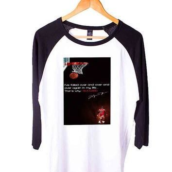 Michael Jordan Quote Short Sleeve Raglan - White Red - White Blue - White Black XS, S,