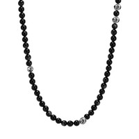 Mens Beaded Necklace with Black Onyx and Silver - Summit Series