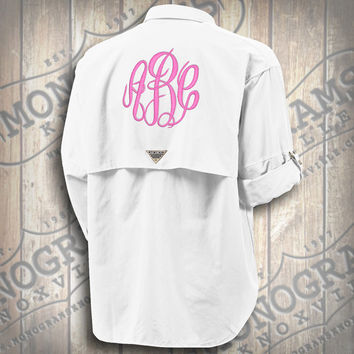 Monogrammed Fishing Shirt - Columbia PFG Men's White Bahama II Long Sleeve (Font shown MASTERCIRCLE in Bubble Gum Pink)