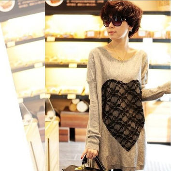 Apricot Long Sleeve Heart Pattern Lace Dress