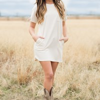 Lilah T-Shirt Dress (Cream)
