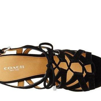 DCCKG2C COACH Women's Joy Black Suede Sandal
