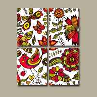 Wall Art Canvas Kitchen Flourish Bedroom Decor Flower Red Orange Green Colorful Bathroom Design Floral Set of 4 Prints Bedding Comforter