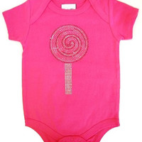 Designer short sleeve onsie with 3button bottom snap LOLLIPOP