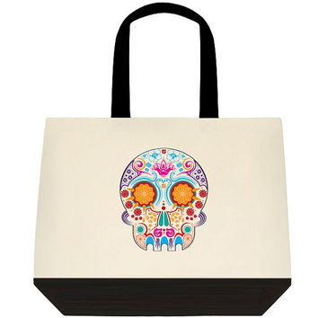 Skull tote bag / Sugar skull / Adult / Teen Tote, Personalized Gift, Reusable Bag, Canvas Totes, Overnight Bag