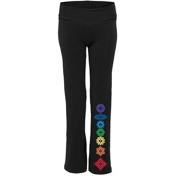 Womens Floral 7 Chakras Yoga Pants