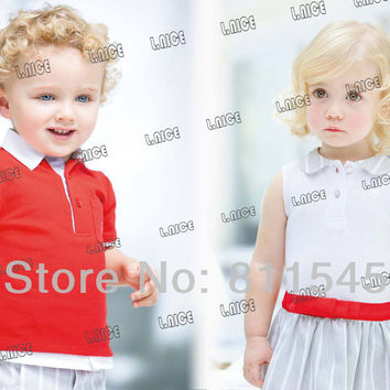 Casual Summer Kids Clothes Sets for Boy Infantil Red Tshirt Blue Stripe Pants Fashion Toddler Baby Clothing Children Outerwear