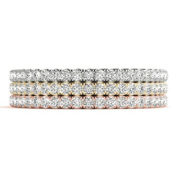 Stackables 1/2 Eternity Tri-Tone Gold Micro-Pave Set Diamonds 3-Band Set