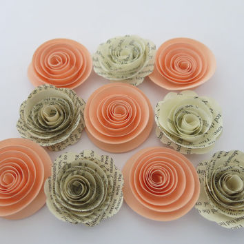 "Peach & Book Page roses, 10 paper flowers, 1.5"" rosette, country barn wedding decor, popular shower decorations the new rustic theme, 3d art"