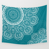 Wall Tapestry - 'Tulips Mandala on Teal' - Home,Decor, Wall,Modern, Home Warming Gift, Symmetry, Harmony, Bohemian, Boho, Hippie, Mandala