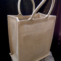 Burlap Jute Tote Bag with Gusset Handle, 15-1/2-inch