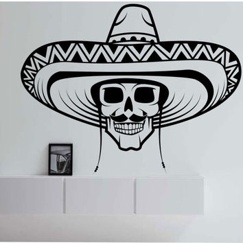 Sugar Skull Sombero Wall Decal Sticker Art Decor Bedroom Design Mural hat skulls