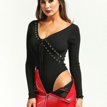 Long Sleeve Laced Detail Black Bodysuit