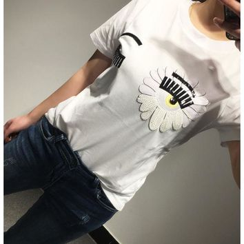 ESBON Chiara Ferragni' White Sunflower Big Eyes Eyelash T-shirt