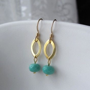 Teal Green Vintage Glass on Marquise Gold Ring Earrings by Yameyu