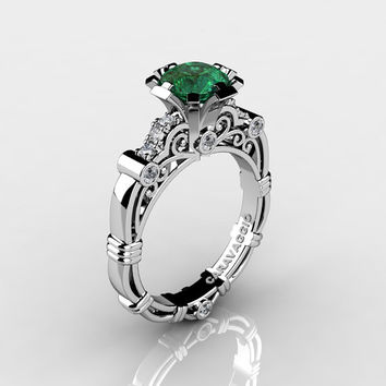 Art Masters Caravaggio 14K White Gold 1.0 Ct Emerald Diamond Engagement Ring R623-14KWGDEM