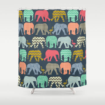 baby elephants and flamingos Shower Curtain by Sharon Turner