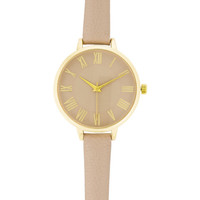 Geneva Thin Band Leather Watch in Gold and Taupe