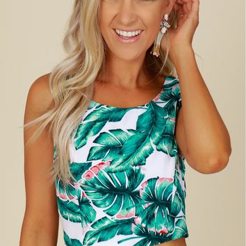 Lace Up Palm Print Crop Top White