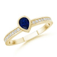 AA Pear Blue Sapphire and Round Diamond Ring - SR0749S