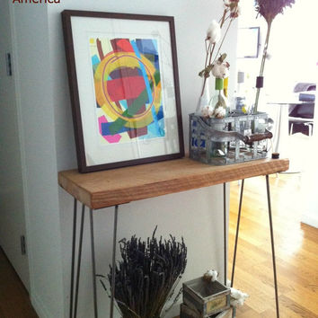 """28"""" Reclaimed Wood Console Table w/ Hairpin Leg..."""