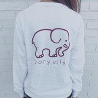 DCCKFC8 2016 Trending Fashion White Ivory Ella Cartoon Elephant Women Long Sleeve Top T-Shirt