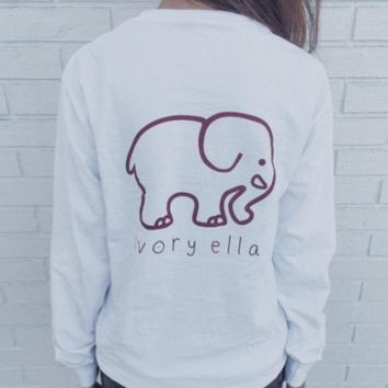ONETOW 2016 Trending Fashion White Ivory Ella Cartoon Elephant Women Long Sleeve Top T-Shirt