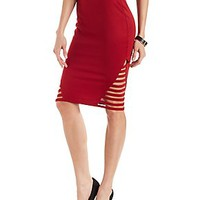 CAGED PONTE KNIT PENCIL SKIRT