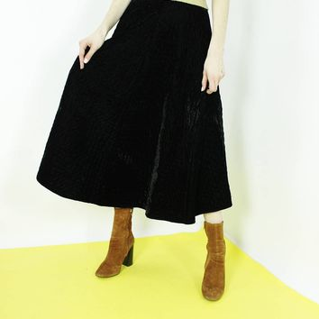 FULL skirt black maxi skirt circle skirt thick black quilted skirt minimalist waist size 25.5 xs small 26