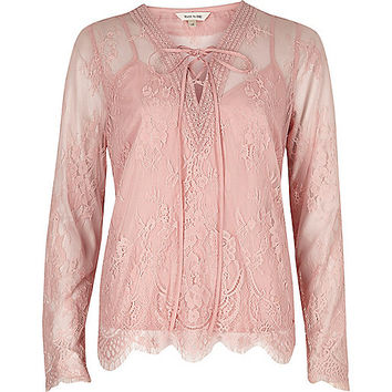 Pink floral lace long sleeve blouse
