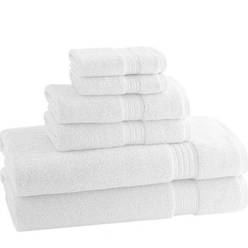 Classic Egyptian Towels   Set of 6   White