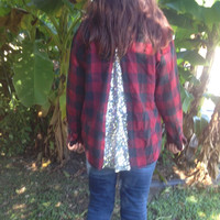 Sequin Flannel Shirt Sequin Embellished Shirt -Ready to Ship - Boho Sparkle -  Plaid Flannel Shirt Flannel Shirt upcycled