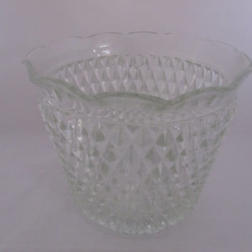 Hobnail Ice Bucket Clear Glass
