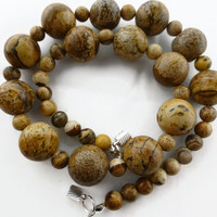 Picture jasper necklace, chunky graduated brown gem necklace with silver magnetic clasp, UK shop