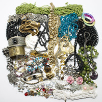 Vintage Jewelry Lot Mixed Assorted Antique Seed Bead Necklaces, Cuffs, Chains, Bracelets Earrings, More