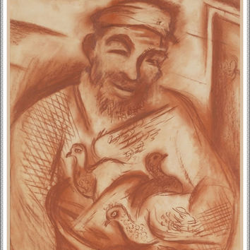 Russian Folk Art Man Holding Ducklings by Issachar Ber Ryback's Counted Cross Stitch or Counted Needlepoint Pattern