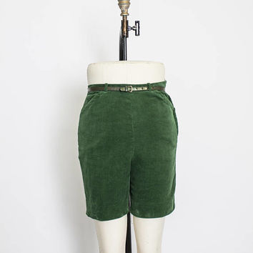 Vintage 1960s Shorts - Corduroy Pin Up Forest Green High Waisted Bermuda Pants - Small S