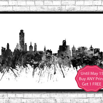 Albany New York Black  Watercolor Print City Skyline Los Angeles Poster City Watercolor City Silhouette Wall Hanging Home Decor  wall art