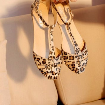 Euro Size 37-39 Women's Sandals Lady's Summer Shoes Leopard Print Flats Hot Sale Flat Heel Sandals