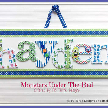 Cute Monster Themed custom, personalized name plaque, letter sign, made to order, children's nursery art and decor, girl or boy name sign