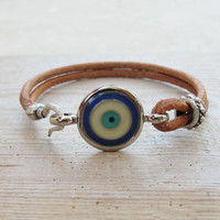 Evil Eye Leather Bracelet Beach Jewelry Leather, Enamel and Metal