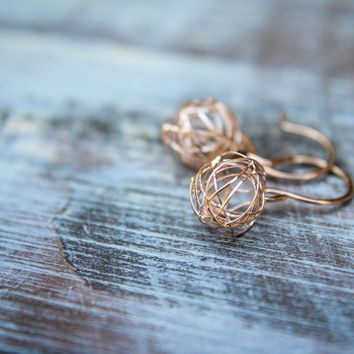 Wire Knot Dangle Earrings in Rose Gold