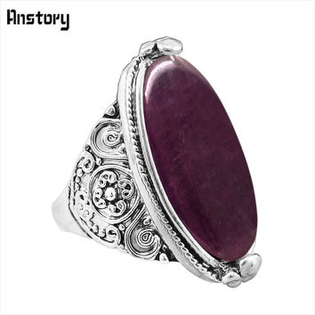 Flower Tail Oval Opal Rings Vintage Look Antique Silver Plated Personality Fashion Jewelry