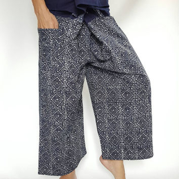 Unique Mo Hom Phare Indigo Thai Fisherman Pants Wide Leg pants, Wrap pants, Unisex pants