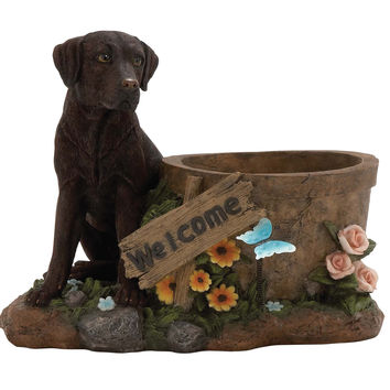 Beautiful Styled Polystone Dog Planter
