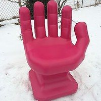 "GIANT Pink HAND SHAPED CHAIR 32"" adult size 70's Retro EAMES iCarly NEW"