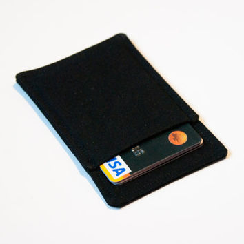 Black thin wallet, Minimalist wallet, Business card holder, Business card case, Slim card wallet, Gift card case, Womens Mens