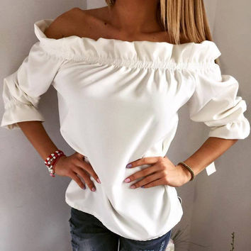 Casual Leaf 3-color Women's Fashion Tops T-shirts [4970285572]